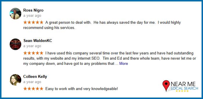 5 Star Google My Business reviews screenshot