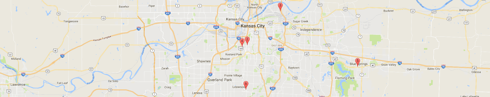 Google local business search results map